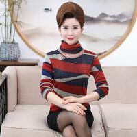 中年女士秋冬薄款长袖加绒保暖高领修身打底衫上装40-50岁妈妈装