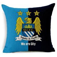 新款欧洲被枕足球俱乐部 曼城足球抱枕亚麻棉麻沙发抱枕宜家汽车靠垫软装饰枕 曼城 曼城