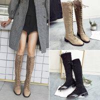 新款学生百搭长筒靴子 时尚系带粗跟高筒骑士靴 韩版黑色瘦瘦靴 复古英伦风靴子女