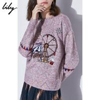 Lily2019秋冬新款游乐园趣味绣花宽松落肩袖粉色毛针织衫8905
