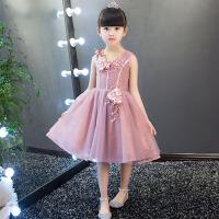 女童晚礼服花童礼服宝宝生日礼服演出服春 儿童婚纱礼服新款公主裙 粉 红色