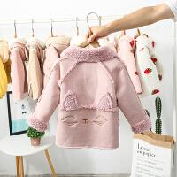 女童外套秋冬装女宝宝韩版加绒中小童鹿皮绒童装