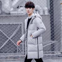 羽绒服男中长款时尚潮牌韩版修身连帽冬季学生青少年男款长款外套