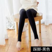 秋冬季加绒加厚打底裤袜女薄绒肤色肉色踩脚外穿紧身保暖光腿神器