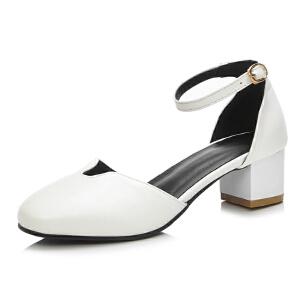 ELEISE美国艾蕾莎新品020-a028韩版超纤皮中跟粗跟女士凉鞋