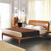 尚满 卧室家具浅胡桃边框实木床单双人床 1.5/1.8米实木气动床 简约现代中式高箱板式排骨架储物床 床头带储物架