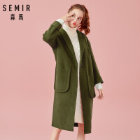 森马女装风衣女秋季军绿色中长款驼色大衣保暖翻领外套