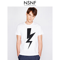 NSNF闪电图案纯棉圆领白色男款T恤 男装2017短袖新款 修身针织短袖潮牌男装