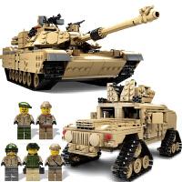 军事积木坦克模型履带式拼装二战德国战车人仔益智男孩子