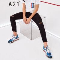 A21以纯线上品牌 2018夏季新品男装牛仔裤男修身低腰弹力小脚九分裤男4821020002