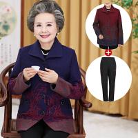 加棉冬装妈妈毛呢外套短款中老年女装呢子外套大码老人衣服婆婆