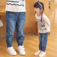 女童牛仔裤春秋新款宽松小童薄款夏女宝宝裤子