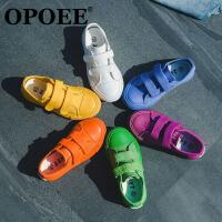 儿童帆布鞋男童 女童鞋糖果色欧版白色学生球鞋