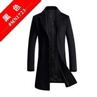 新款韩版修身羊毛呢子大衣男中长款青年商务毛呢大衣外套英伦风衣 黑色 M