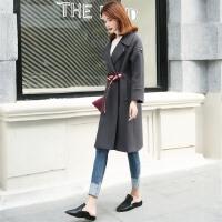 毛呢外套女中长款韩版秋冬装新款潮系腰带修身深灰色呢子大衣