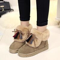 冬季雪地靴短靴平底女靴子皮毛一体冬靴加厚短筒棉鞋女鞋
