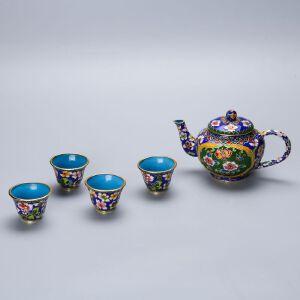 创汇时期花丝景泰蓝茶具一套