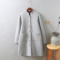 H1秋冬装新品加厚加绒保暖菱格衬衫宽松显瘦棉麻棉袄棉衣1.05