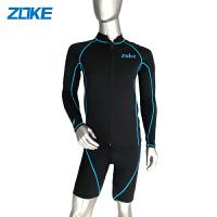 【满300-100元】zoke洲克男士泳衣分体长袖运动五分游泳裤二件套温泉度假游泳衣男