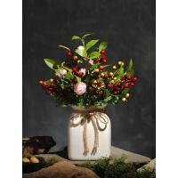 茶花浆果仿真花艺套装干花客厅装饰假花设计餐桌绢花假花 红色款