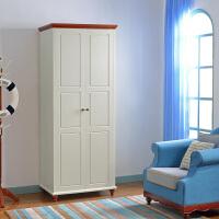 尚满 地中海卧室家具系列成人衣柜 二门/四门带抽屉大空间储物衣柜 现代边框实木衣柜衣橱