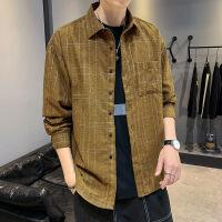 男士新款韩版格子长袖衬衫格子潮流帅气青少年学生休闲衬衣男寸衣