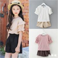 女童休闲套装夏季韩版童装时尚大童女孩夏装短袖T恤+短裤两件套潮