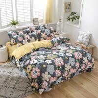 纯棉四件套全棉简约床品1.8m床上用品宿舍被套床单三件套