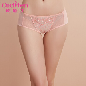 【30元无门槛券后价:39】欧迪芬女士内裤性感网纱刺绣女士平角内裤XP7510