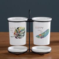 北欧创意厨房用品调味罐筷子筒套装家用收纳置物架调料瓶调料盒