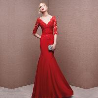 ebay新娘敬酒服新款秋季红色长款结婚礼服鱼尾修身晚礼服 1626-红色