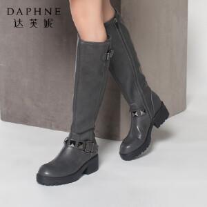 达芙妮女鞋女靴冬季2017新款方根长筒靴女鞋欧美帅气圆头女高筒靴长靴