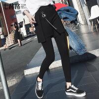 假两件裤裙打底裤2017冬秋季新款韩版百搭黑色运动长裤子外穿女士