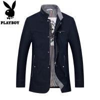 花花公子春季男士立领飞行夹克休闲商务薄款jacket青年棒球服外套