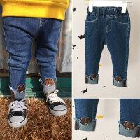 女童牛仔裤2018春装新款布朗熊刺绣毛边宝宝翻边小脚打底裤长裤子