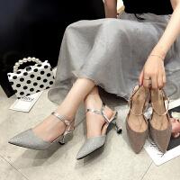 包头尖头凉鞋高跟鞋女细跟仙女的鞋搭配裙子一字带时尚新款时尚鞋