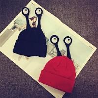 儿童毛线帽秋冬天套头帽宝宝帽子摄影帽男女童护耳帽保暖针织帽潮