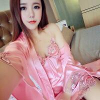 绣花长袖睡衣家居服性感诱惑两件蕾丝套睡袍韩版吊带睡裙