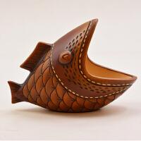 陶瓷鱼礼物室内装饰品小摆设工艺品现代极有家乔迁新居摆件 笑口鱼