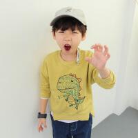 男童圆领宽松卫衣3-10岁宝宝外套春秋2018新款儿童秋装恐龙图案潮 黄色