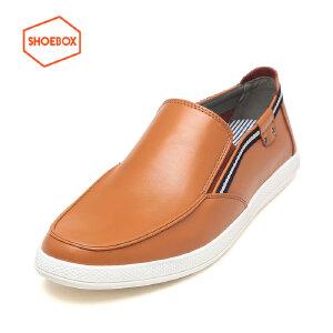 达芙妮旗下SHOEBOX/鞋柜时尚织带男圆头皮鞋日常休闲鞋男单鞋