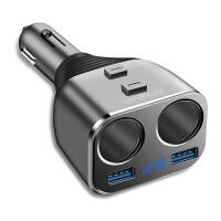 车载充电器车充 汽车一拖二点烟器USB点烟口扩充 安卓苹果手机通