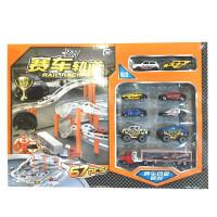 电动轨道车合金车模型儿童玩具汽车总动员特警车套装 赛车轨道