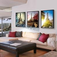 埃菲尔铁塔壁画巴黎埃菲尔铁塔客厅装饰画欧式建筑风景沙发背景现代简约三联挂画 70*100 黑色画框 水晶画芯