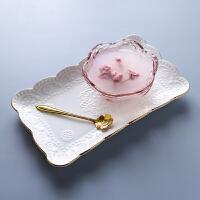 日式樱花玻璃碗 金边甜品碗燕窝碗创意糖耳汤碗盅雪糕沙拉碗 粉色樱花碗+金边长方盘 送金花勺 碗约200ML