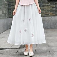 20春季新款女装文艺复古修身雪纺蝴蝶绣花百搭半身裙中长裙 米白色