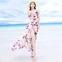 夏季新款开叉露肩吊带雪纺连衣裙海边度假沙滩裙波西米亚长裙 图片色