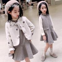 女童冬装套装裙童装儿童毛呢外套女大童背心裙两件套