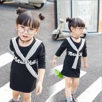 女童长袖连衣裙2018春装新款中小童学院风字母条纹领带棉质T恤