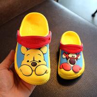 夏季儿童凉鞋女童维尼熊童鞋宝宝拖鞋男童亲子鞋洞洞鞋沙滩鞋
